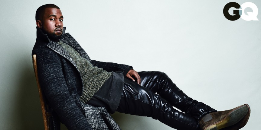 Kanye West posing for GQ